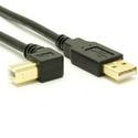 USB 2.0 A to Left Angle B Cable - LSZH