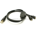 USB 2.0 A to 2 USB Micro-B Male